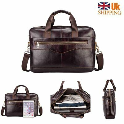 Leather Men Business Genuine Briefcase Handbag  Laptop Shoulder Messenger Bag UK