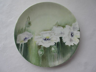 """M Z Hand Painted Display Plate Floral Made in Austria 8 5/8"""" White & Green"""