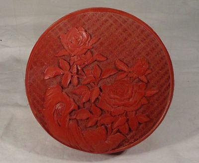 Antique Vintage Chinese Carved Cinnabar Lacquer Box Jewelry Dish Republic Period