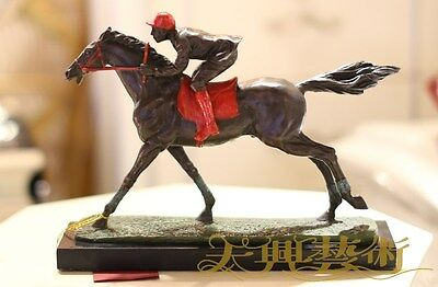 Art Deco Sculpture Man Ride Horse Racing  Bronze Statue Figurine