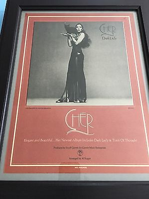 "Cher Original 1974 ""Dark Lady"" 11X14.5"" Print Promo Ad In 15X19"" Frame"