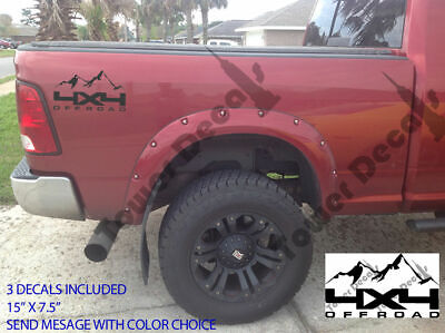 4X4 Offroad Mountain Truck Bed Side Decal For Chevy Dodge Ram Ford Nissan Toyota