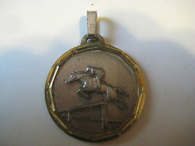 vtg EQUESTRIAN Charm necklace Pendant Italy disc CDF horse dressage show jumping