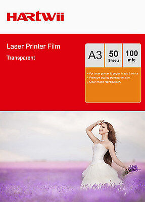 50 Sheets Transparency OHP Film Acetate Clear A3 For  Laser  Copier Hartwii AU
