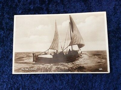 RPPC Real Photographic Postcard of the Deal Lifeboat. Sails Up & Crew Aboard.