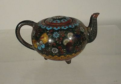 Antique Japanese Miniature Cloisonne Teapot Butterflies Missing Top
