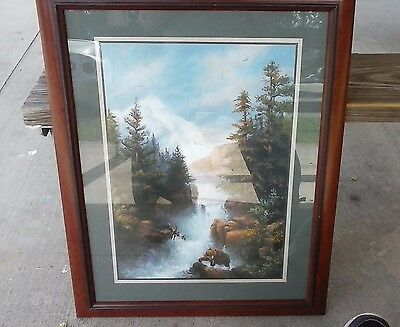 Beautiful Home Interior & Gifts Bear Fishing in Stream Picture - Must See!!!
