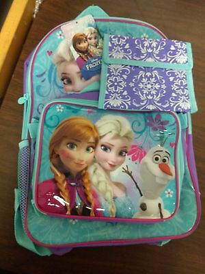 """Disney  Frozen Anna and Elsa Girls 16"""" Large School Backpack and  Lunch bag set"""