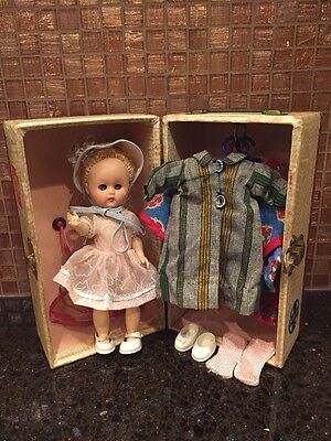 "Very RARE Vintage Cosmopolitian Ginger Doll 8"" with Clothes and Trunk - 1950""s"
