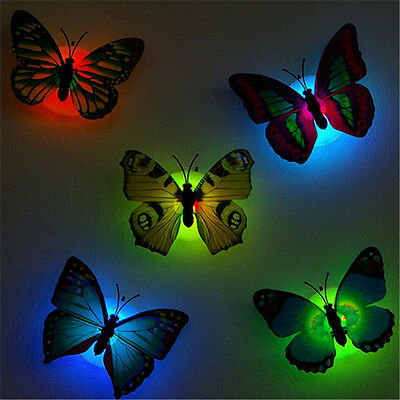 LED Glowing 3D Butterfly Wall Stickers Children Room Decal Home Wedding Decor
