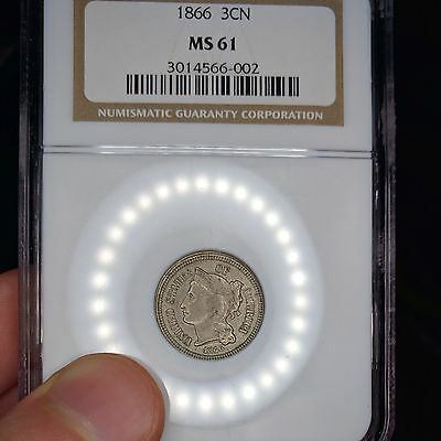 1866 MS61 3CN Three Cent Nickel graded by NGC, a beautiful coin!