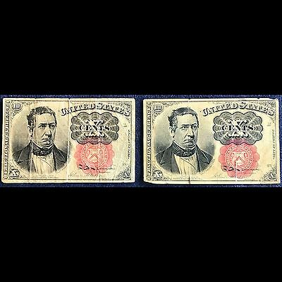 (2) 10 Cent Red Seal William Meredith Fractional Currency Notes - Free Ship USA