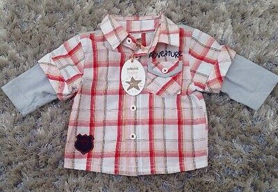 Designer Baby Boys Red Checked Short Sleeved Shirt. Size:9-12 Months. RRP £8.99.