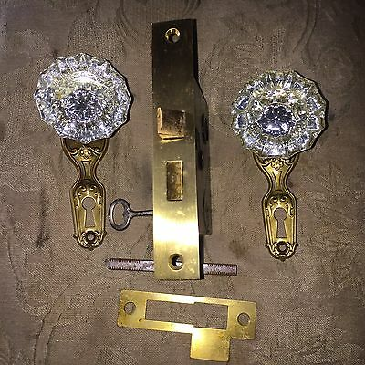 Antique  PENN  MORTISE LOCK & KEY And Matching Backplates & Glass Door Knobs #2