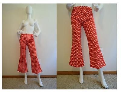 Vtg Pants 60s High Waist Cropped Flare Polka Dot Boho Hippie S/M 28 x 27