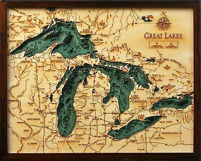 "THE GREAT LAKES 16"" x 20"" New, Laser-Cut 3-Dimen Wood Chart/Lake Art Map"