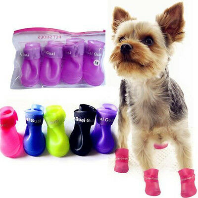 1Set 4Pcs pet Dog Puppy Rain Boots Booties PVC Shoes Waterproof Protective S/M/L