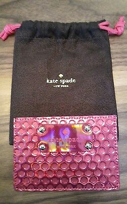 Kate Spade Metallic Camellia Pink Patent Polka Dot Card Holder with Dustbag