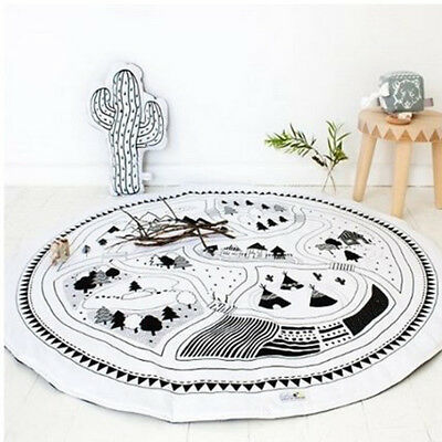 Kids Baby Infant Cute Game Play Mat Round Crawling Pad Carpet Car Track Rug