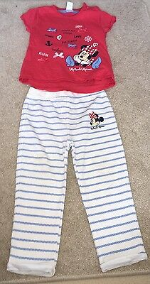 18-24 Months Girls Minnie Mouse London To Brighton Ti Shirt And Trousers Outfit