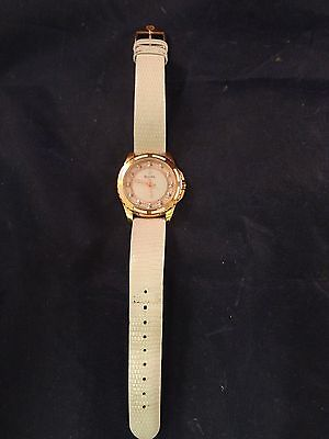 Bulova Women's Watch Mother of Pearl Face Rose Gold Accents w/White Leather Band
