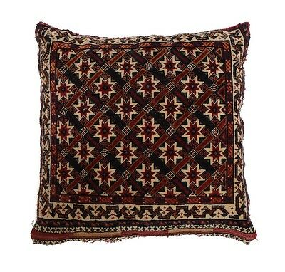 Antique Qashqai Wool Pillow Cushion, c.1900. Crosshatched Starburst Design