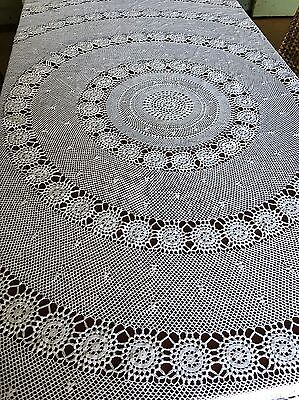 Vintage Hand Crocheted 210cm Round White Cotton Tablecloth Crochet Table Bed