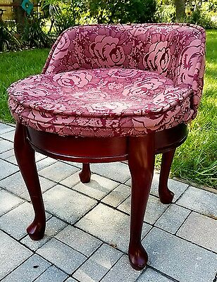Wood Vanity chair seat swivel French Provincial Hollywood Regency Louis XI  Vtg