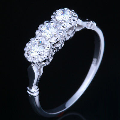 2.7mm Round 10K White Flawless GoldCubic Zirconia Engagement Anniversary Ring