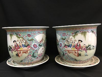 Pair Of Chinese Porcelain Famille Rose Plant Pot