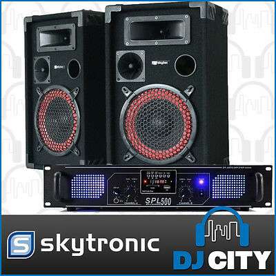 "PK-XEN12 12"" XEN Skytec Passive Speakers w/ SPL500MP3 500 Watt Skytec Amp"