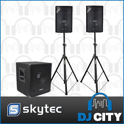 Skytec Active Powered PA DJ Package 1300Watt Speaker Sound System w/ Stands