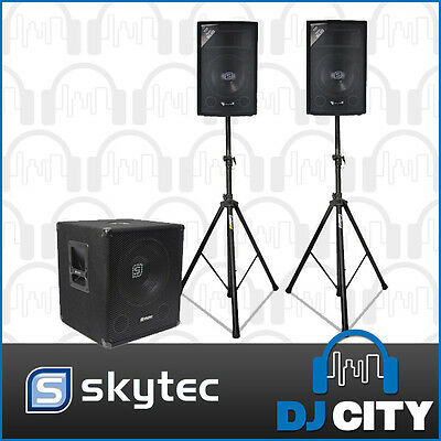 Skytec Active Powered PA DJ Package 600Watt Speaker Sound System w/ Stands