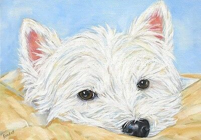 """West Highland Terrier WESTIE MATTED PRINT Painting """"PONDERING"""" Dog Art RANDALL"""