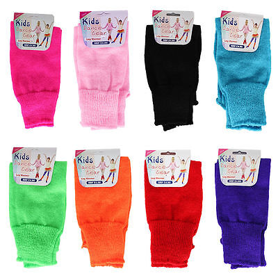 Children's Girls Boys Kids Neon Plain Leg Warmers Dance Gear All Colours Bnwt