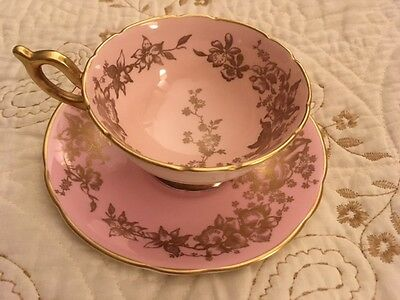 COALPORT English Bone China, Pink and Gold Floral Teacup & Saucer, Beautiful!