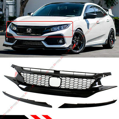 For 2016-18 Honda Civic 10Th Gen Jdm Ctr Style Glossy Blk Front Hood Mesh Grille