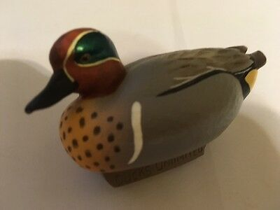 Jett Brunet, Ducks Unlimited Miniature, Decoy, Green Wing Teal, DU, 2005