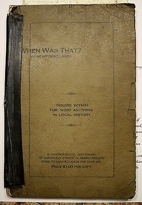 """1923 NEWFOUNDLAND RARE BOOK """"WHEN WAS THAT"""" CHRONOLOGICAL DICTIONARY NFLD  bb02"""