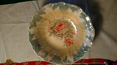 Floral Porcelain Bowl Leaf Pattern Green Yellow No Marking