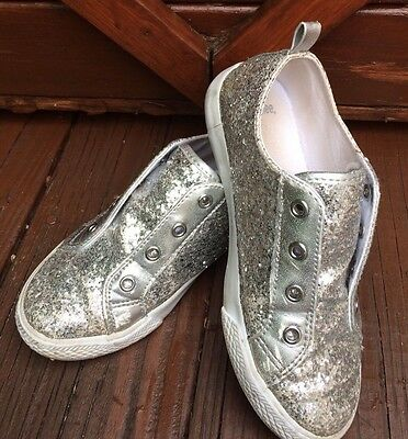 💖💗Gymboree Silver Sparkle Glitter Slip On Shoes Sneakers Girls size 13 GUC