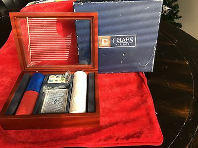 """Chaps Poker Chip Set With Wooden/Glass Box 8.5""""x6.5"""""""