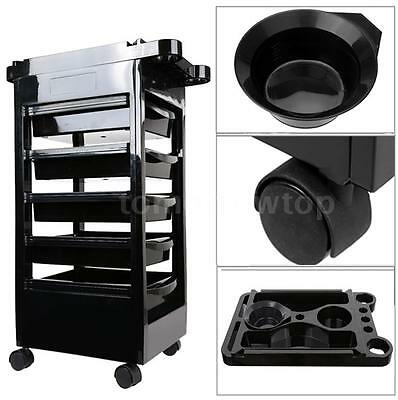 5 Drawers Hairdressing Trolley Salon Rolling Cart Barber Storage Station M9I0