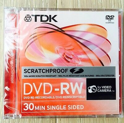 30 Discs TDK 8CM 1.4G ScratchProof 2x DVD-RW 30Min Single sided for Camcorder