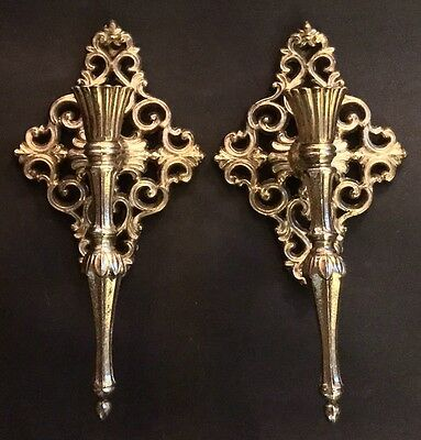 """*SALE** Vintage Pair Solid Brass Rococo Style Hollywood Regency 11""""Wall Sconce"""