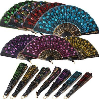 Best Spanish Style Dance Wedding Party Lace Silk Folding Hand Held Flower Fan