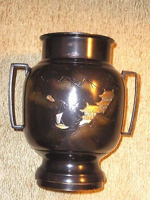 Beautiful Japanese Old Mixed Metal Double Handled Vase w/Mansions on Sea & Boats