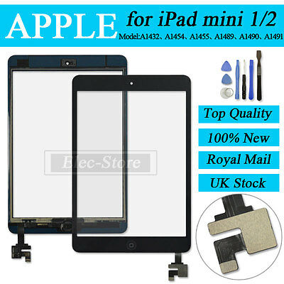 Black Screen For iPad mini 1 2 Touch Digitizer Replacement Home Button IC Tools