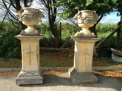 Large garden statuary gothic stone composition urns