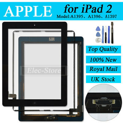 Black Screen For iPad 2 Touch Digitizer Replacement Mid Frame Bezel Home Button